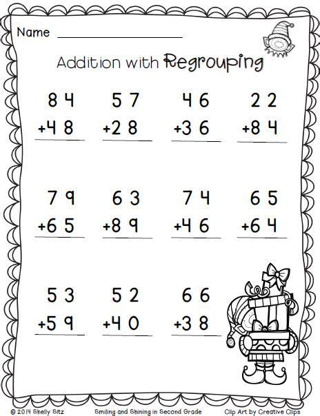 free printable christmas math worksheets for 2nd grade christmas math addition with regrouping free 2nd grade