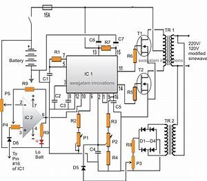 Modified Sine Wave Inverter Circuit Using Ic 3525  With Regulated Output And Low Battery