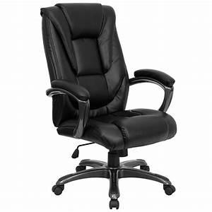 Flash, Furniture, High, Back, Black, Leathersoft, Layered, Upholstered, Executive, Swivel, Ergonomic