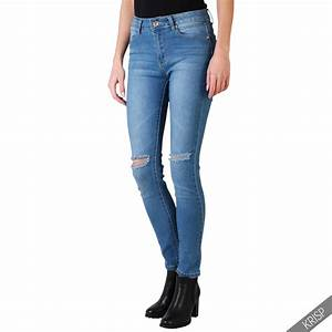 Womens Girls Ripped Skinny Jeans Fitted Slim Leg Faded Denim Pants Trousers | eBay