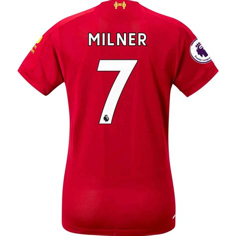 The liverpool 2019/20 home kit is available to preorder from the new balance web store now, before arriving in all stores on may 9. 2019/20 Womens New Balance James Milner Liverpool Home ...