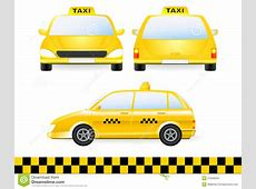 Set Of Isolated Taxi Car Silhouette Stock Vector Image