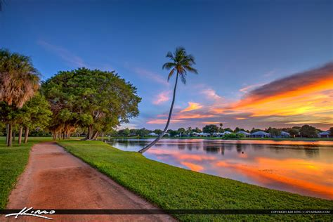 sunset at lake in palm gardens florida