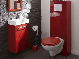 Leroy Merlin Commode : wc suspendus mur briques gris et touches de rouge d cor wc design bathroom et toilet ~ Dode.kayakingforconservation.com Idées de Décoration
