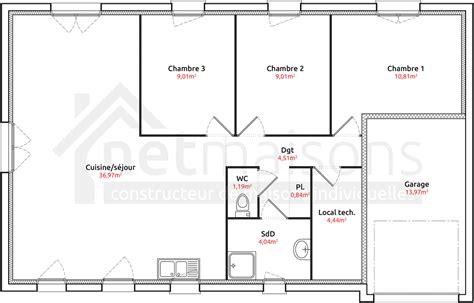 plan maison plain pied 4 chambres plan de maison 2 chambres image issue du site web maisons