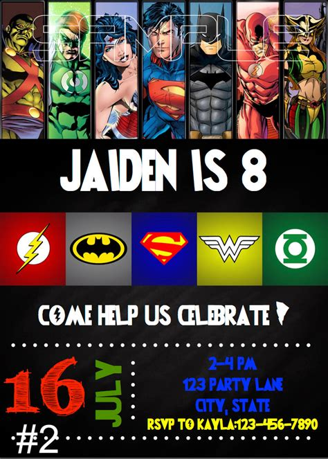 Justice League Birthday Invitation Digital File By