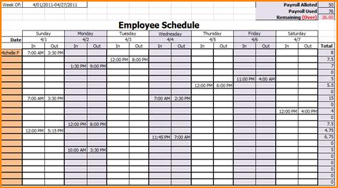 Employee Schedule Template 7 Weekly Employee Schedule Template Authorization Letter