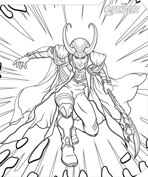Marvel Avengers Loki Coloring Page Free Printable