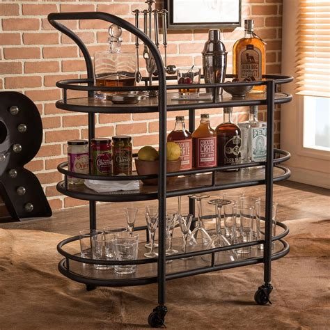 Bar Cart by Baxton Studio Karlin Black And Medium Brown Wine Cart