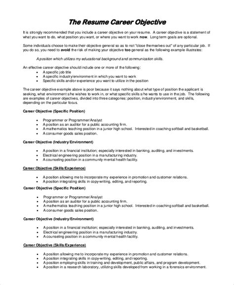 Resume Objective Sle For Teachers by Sle Objective For Resume 8 Exles In Pdf Word