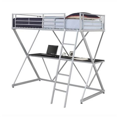 twin metal loft bed with desk x shaped metal twin loft bed in silver with desk 5440196