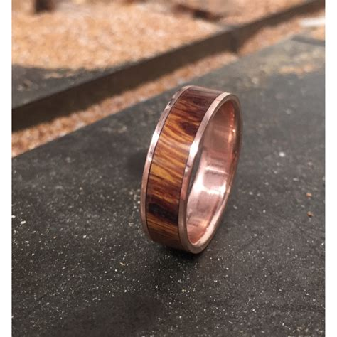 Men's Wedding Band 10k Rose Gold With Wood Inlay Ring