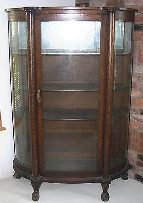 replacement curved glass for curio cabinet details about antique bow front oak china cabinet claw