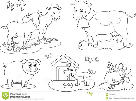 Coloring Farm Animals 2 Stock Vector. Illustration Of