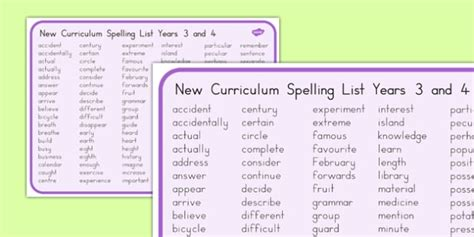 spelling list years 3 and 4 word mat australia