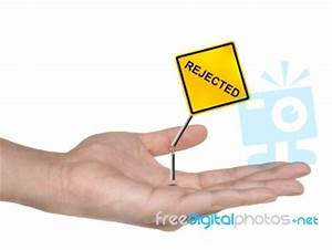 Hand Holding Rejected Sign Stock Photo - Royalty Free ...