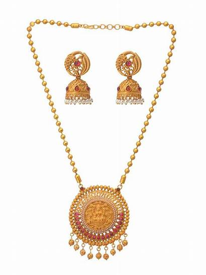 Jewellery Gold Temple Necklace Plated Jewelry Jivaana