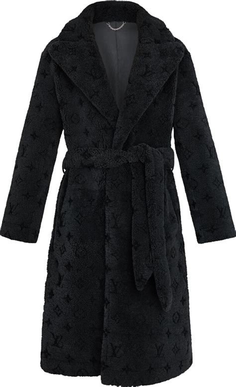 louis vuitton grey monogram shearling coat incorporated style