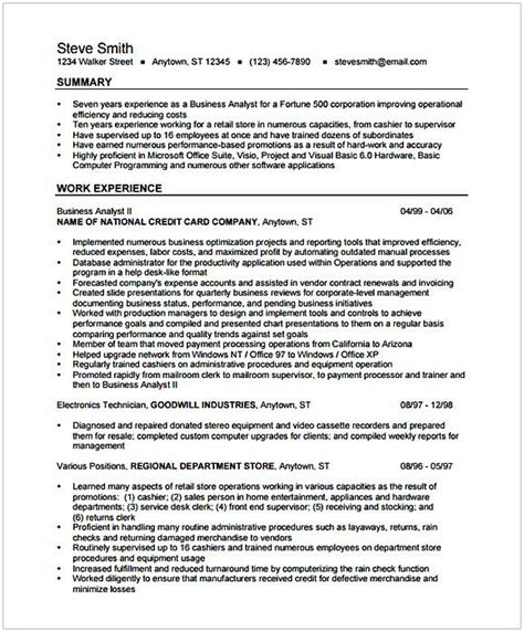 Business Analyst Entry Level Resume by Business Analyst Resume Format 1 Entry Level Business