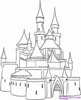 Castle Coloring Simple Step Pages Medieval Draw Drawing Princess Castles Drawings Cartoon Frozen Sheet sketch template