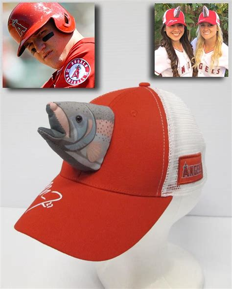 mike trout fish hats los angeles angels giving caps