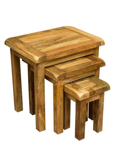 Mango solid wood 3 nest of table set with steel frame. Garda Light Mango Wood Nest of Tables (With images)   Mango wood furniture, Mango wood, Solid ...