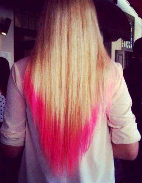 Long Blonde Hair Dip Dyed In Pink Pink Tips Hair Dip