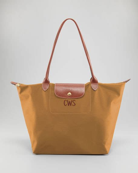 longchamp le pliage monogrammed large shoulder tote bag camel