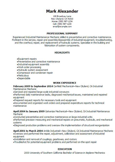 professional industrial maintenance mechanic resume