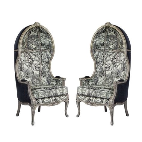 pair of carrocel custom louis xv marbled porter chairs for
