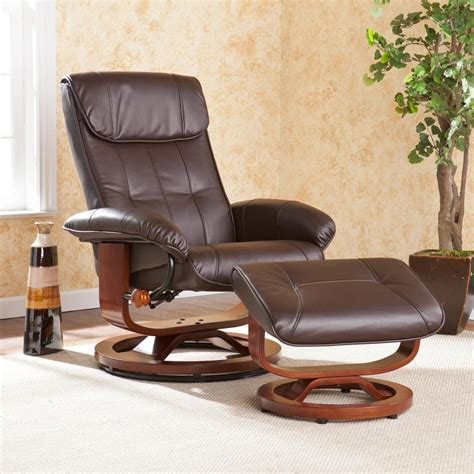 brown leather chair with ottoman view larger