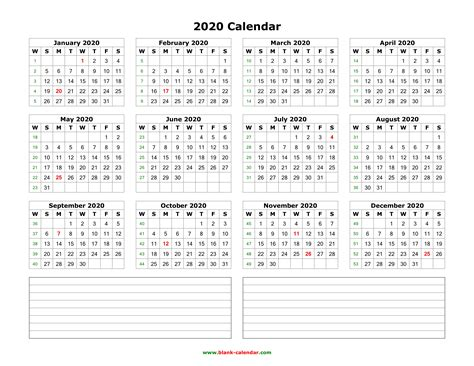 Download Blank Calendar 2020 With Space For Notes (12