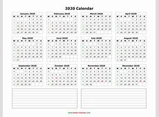 Download Blank Calendar 2020 with Space for Notes 12