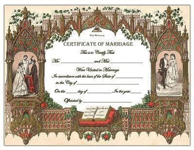 fashioned marriage certificate template marriage