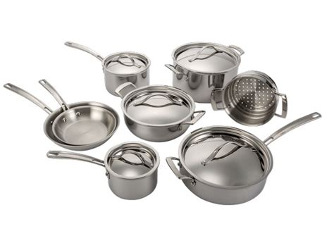 kirkland signature costco  piece stainless steel tri ply clad kitchen cookware consumer