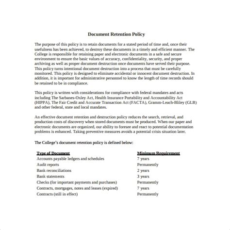 document retention policy samples sample templates