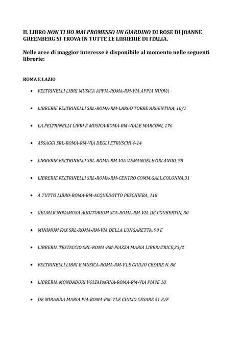 Librerie Feltrinelli Srl by Non Ti Ho Mai Promesso Un Giardino Di By Segnalazioni