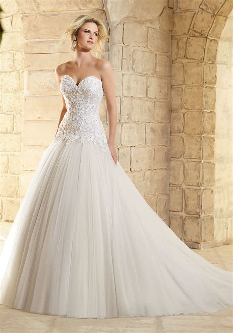 Embroidered Lace With Crystals On Tulle Bridal Gown