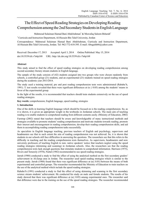 (pdf) The Effect Of Speed Reading Strategies On