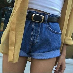 Shorts denim denim shorts summer tumblr grunge aesthetic belt blue yellow cute outfit ...