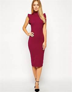 asos midi bodycon dress with high neck and frill sleeve in With robe midi moulante