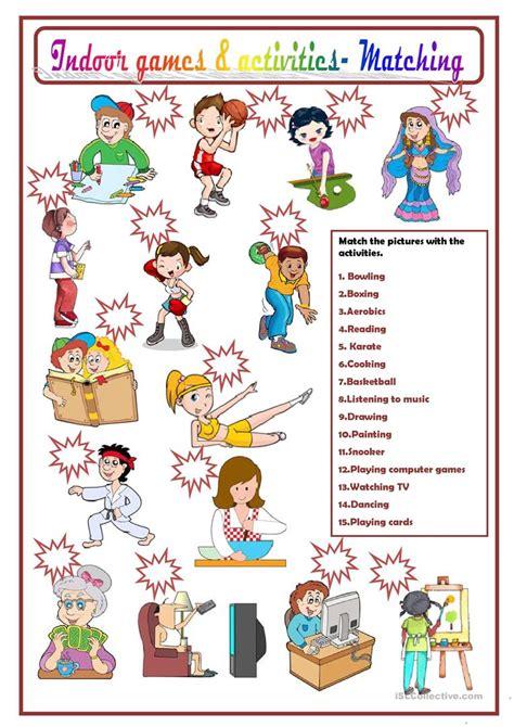 indoor games activities worksheet  esl printable