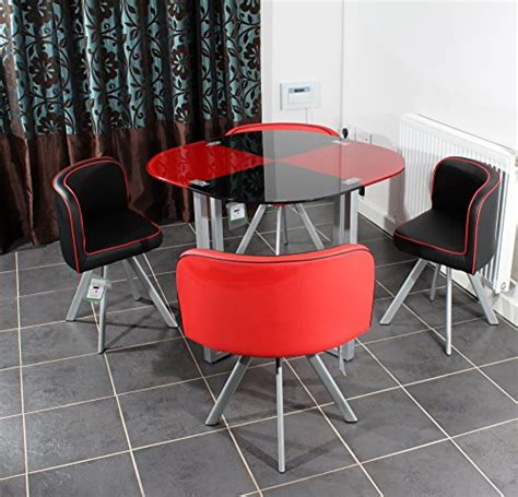 black table red chairs charles jacobs space saver dining table with four chair