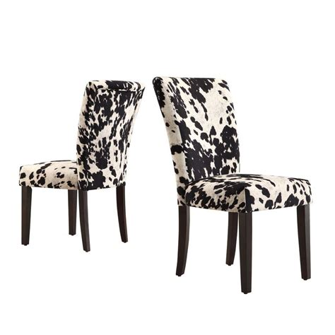 Cowhide Chairs by Homesullivan Whitmire Black Cowhide Fabric Parsons Dining