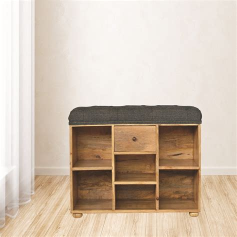 Upholstered Shoe Storage Bench by Solid Wood Shoe Storage Bench With Upholstered Black Tweed
