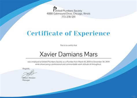 plumbing experience certificate template  psd ms