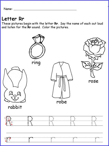 Writing Letter R Worksheet Kindergarten  Prek  Learning Letters, Worksheets, Kindergarten