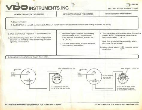 vdo wiring diagram tachometer vdo free engine