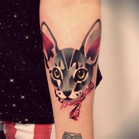 beautiful watercolor cat tattoo  arm tattooimagesbiz