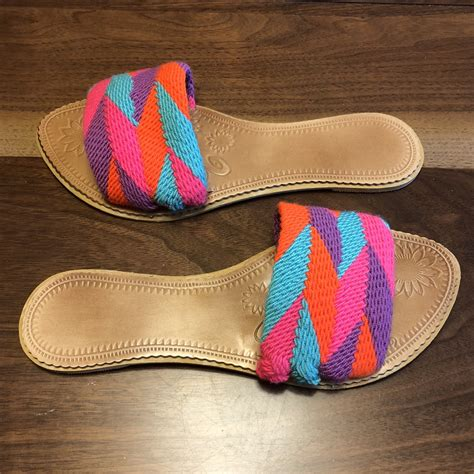 colorful sandals colorful handwoven sandals boho flat sandals swf020